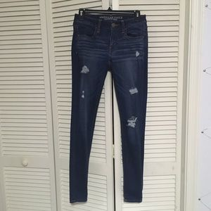 American Eagle Dark Wash Distressed Jeggings